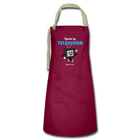 Raised By TV Artisan Apron - burgundy/khaki
