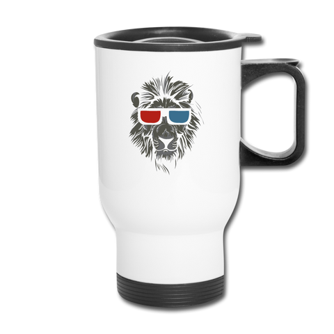 3D Glasses Lion Travel Mug - white