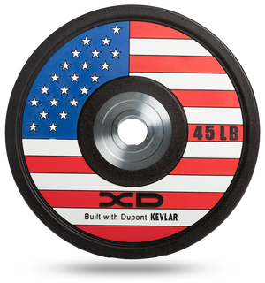 Red, white, and blue American flag bumper plate for weightlifting