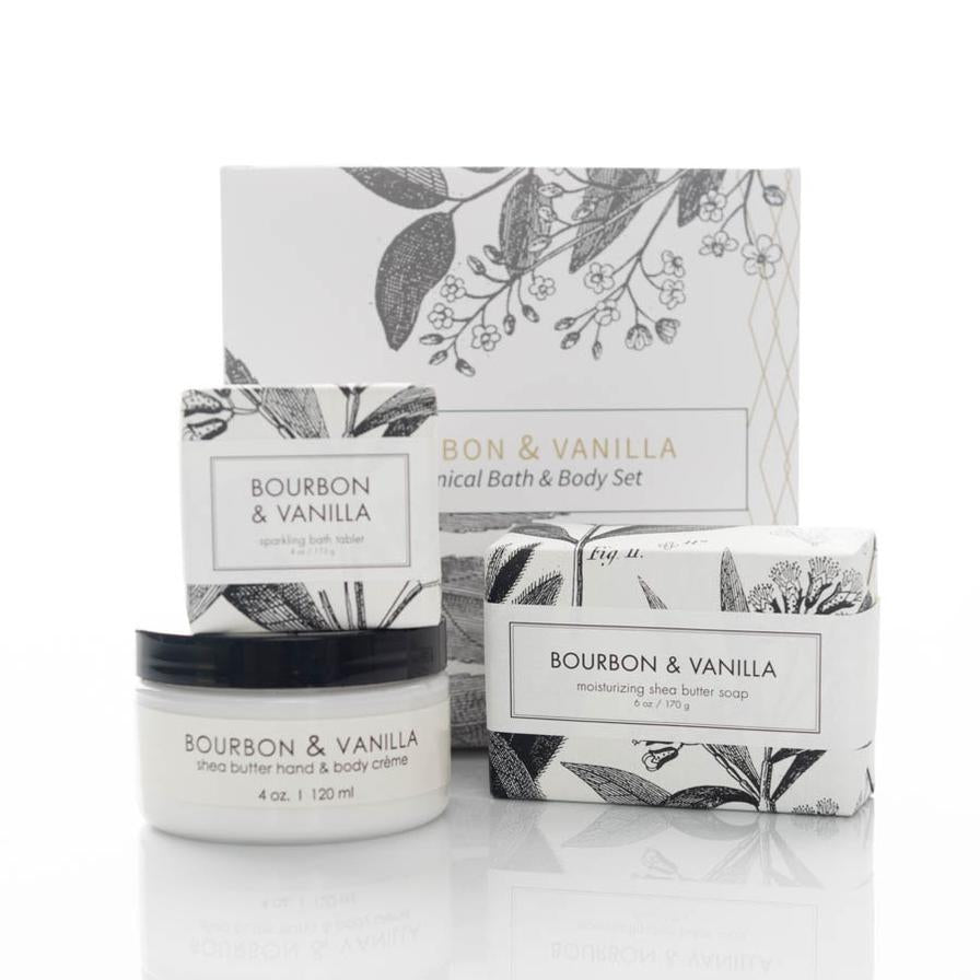 Bourbon & Vanilla Scented Botanical Bath And Body Gift Set