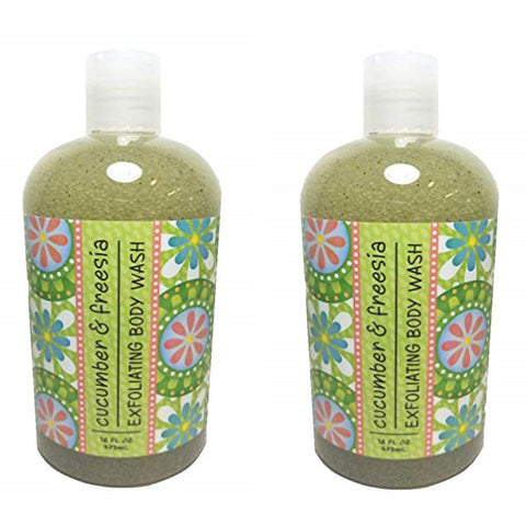 Cucumber & Freesia Scented Exfoliating Body Wash 16 oz (2 Pack)
