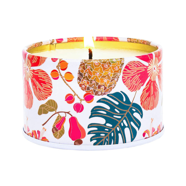 Aloha 'Aina Hibiscus Passion Scented Hawaiian Aromatherapy Candle Lighted Example