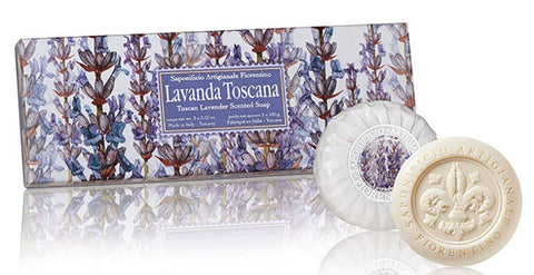 Tuscan Lavender (Lovanda Toscana) Scented Set of 3 x 3.52 oz Round Soaps