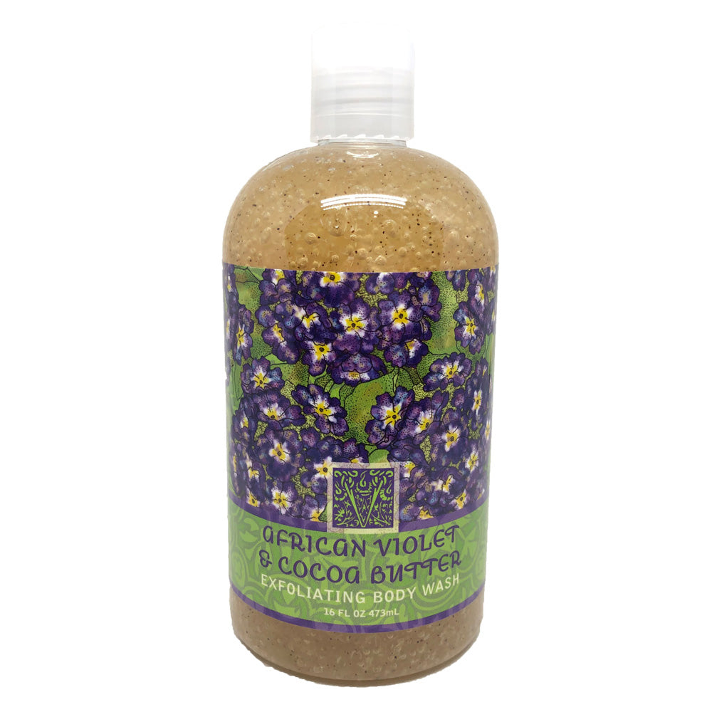 African Violet & Cocoa Butter Scented Exfoliating Body Wash 16 oz