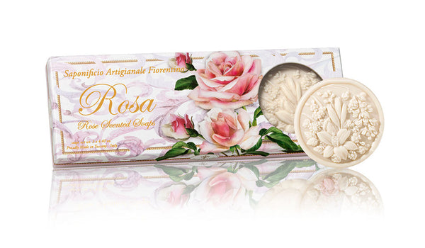 Ischia Collection Soap Set of 3 - 4.40 oz Round Soaps Rose