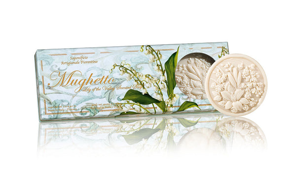 Ischia Collection Soap Set of 3 - 4.40 oz Round Soaps Lily Of The Valley