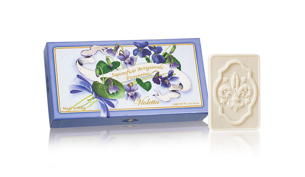 Violet (Violetta) Scented Set of 3 x 4.40 oz Rectangular Soaps By Saponificio Artigianale Fiorentino