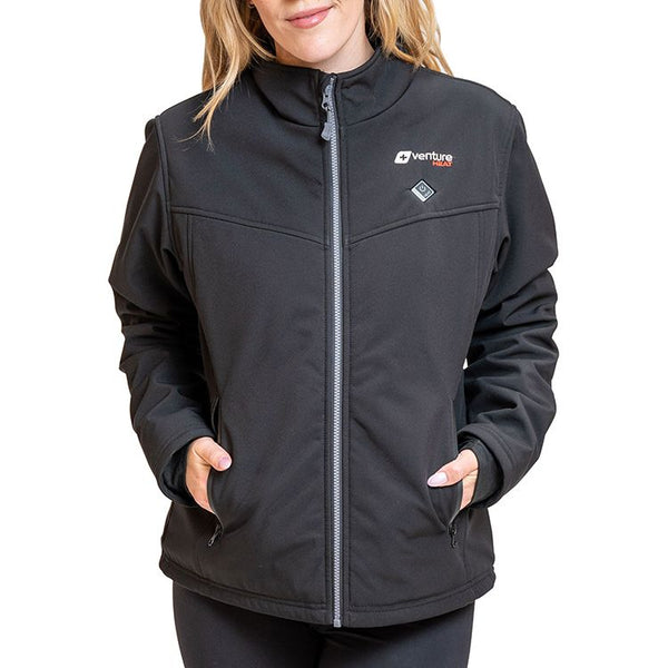 Venture Heat Women's Insulated Softshell Heated Jacket - Outlast 2.0 - Black