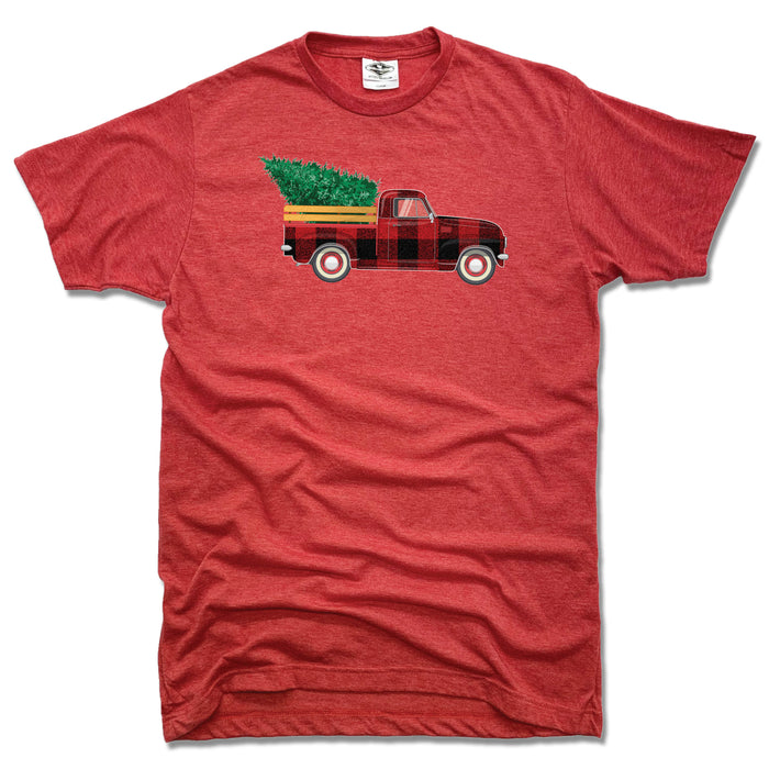 HOLIDAY TRUCK | UNISEX RED TEE | PLAID