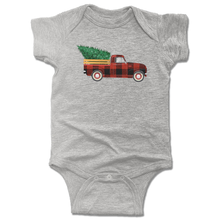 HOLIDAY TRUCK | ONESIE WHITE | PLAID