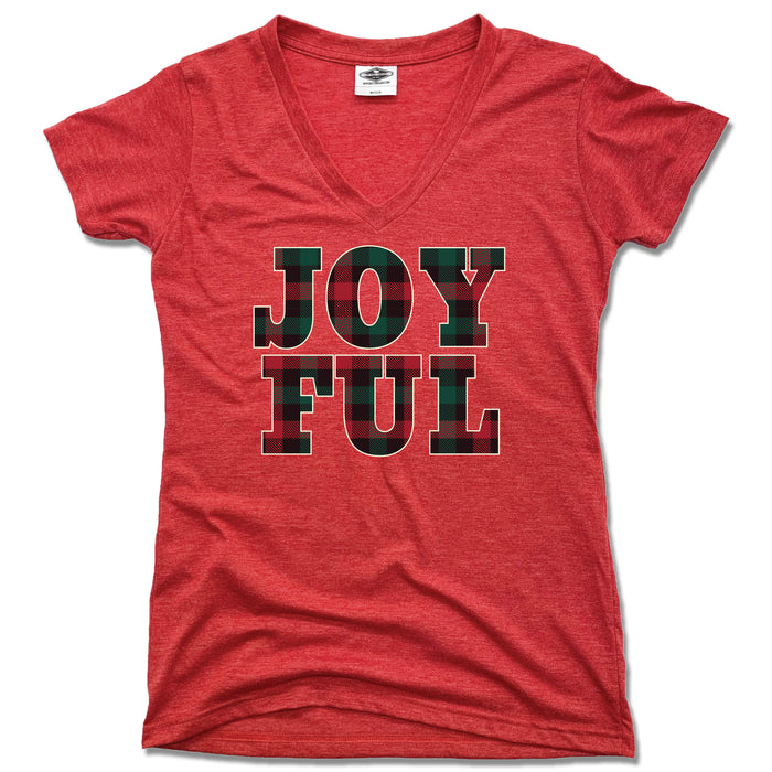 JOYFUL | LADIES RED V-NECK | FLANNEL