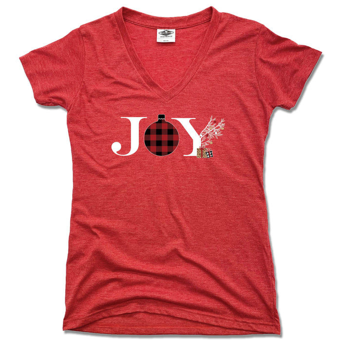 JOY | LADIES RED V-NECK | FLANNEL ORNAMENT