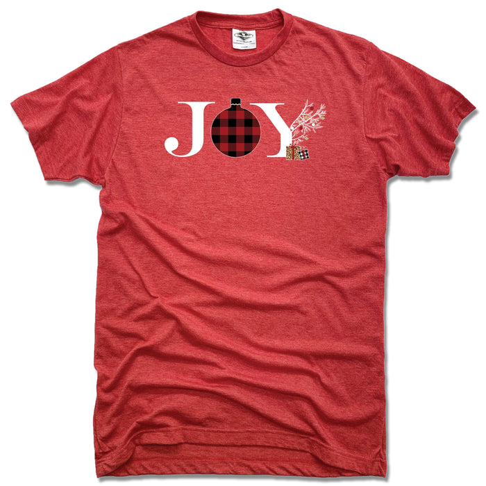 JOY | UNISEX RED TEE | FLANNEL ORNAMENT