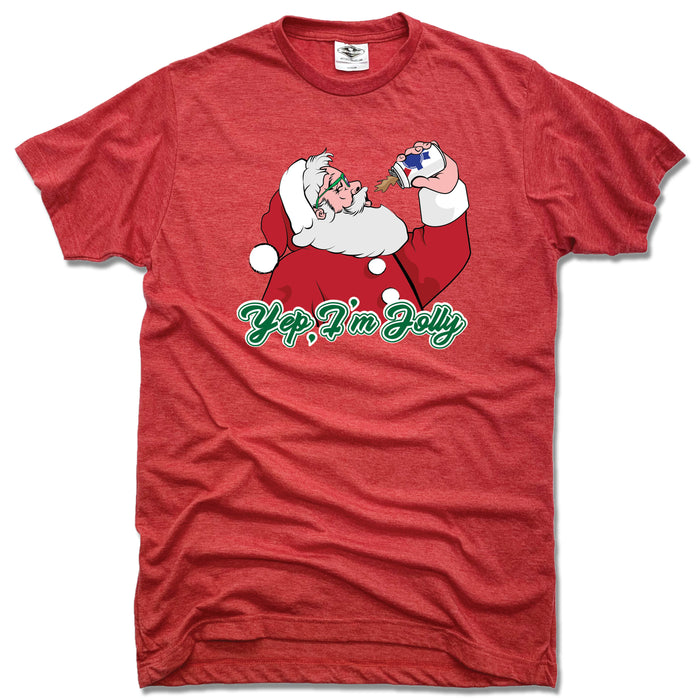 SANTA | UNISEX RED TEE | YEP I'M JOLLY