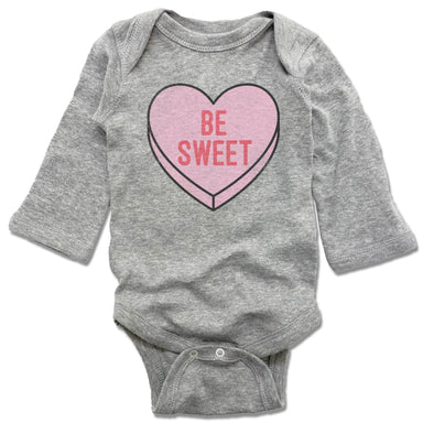 CANDY HEART | GRAY LONGSLEEVE ONESIE  | BE SWEET