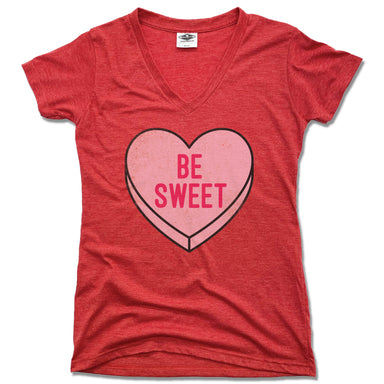 CANDY HEART | LADIES RED V-NECK | BE SWEET