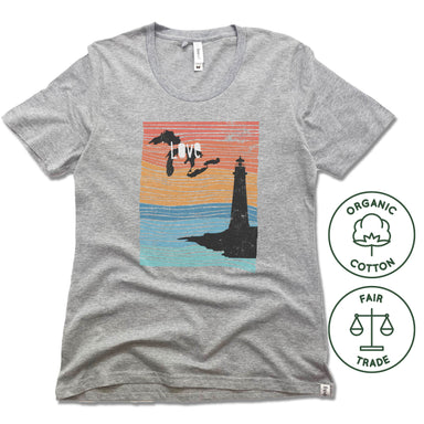 GREAT LAKES | FREESET LADIES TEE | LOVE LINE ART