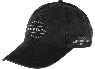 KOFENYA COFFEE | EMBROIDERED BLACK HAT | WHITE LOGO