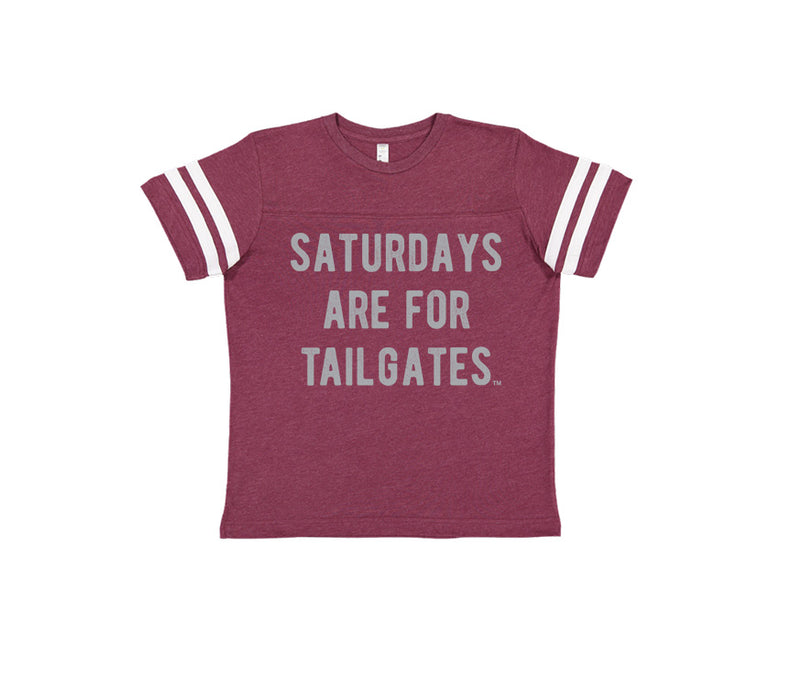 FOOTBALL | BURGUNDY KIDS' TEE | SATURDAYS ARE FOR TAILGATES | GRAY