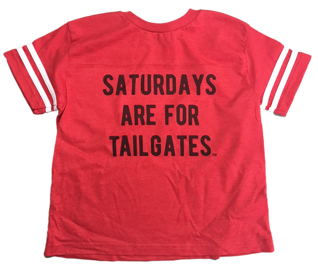 FOOTBALL | RED KIDS TEE | SATURDAYS ARE FOR TAILGATES | BLACK