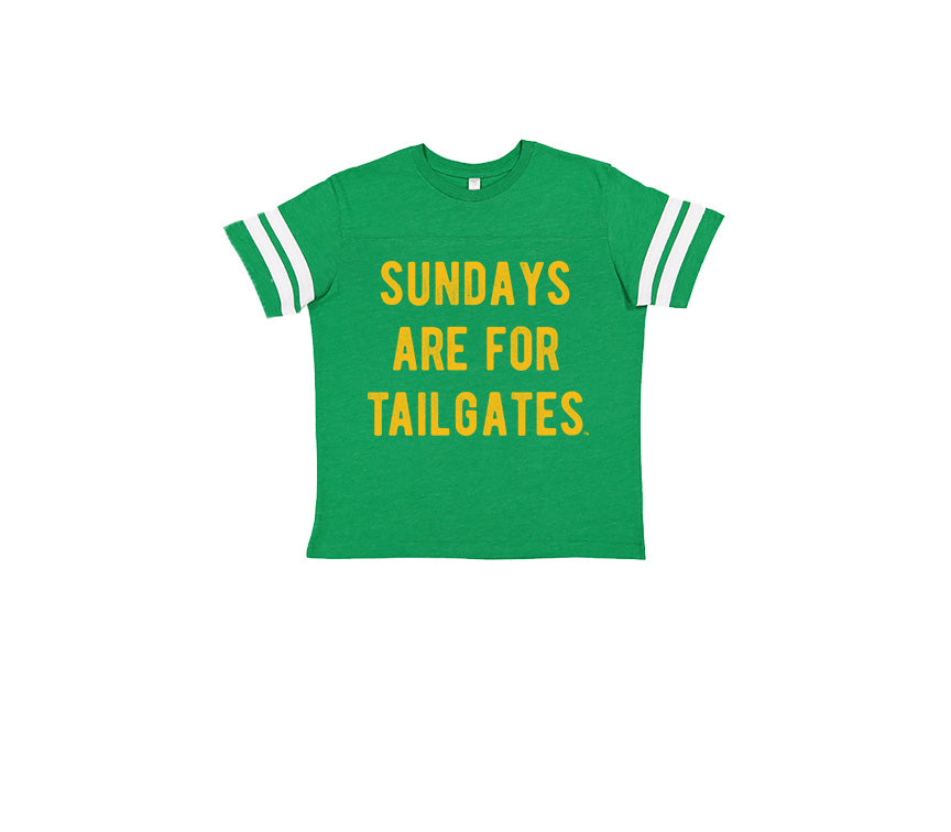 FOOTBALL |  GREEN KIDS TEE | SUNDAYS ARE FOR TAILGATES | GOLD