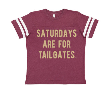 FOOTBALL | BURGUNDY KIDS' TEE | SATURDAYS ARE FOR TAILGATES | GOLD