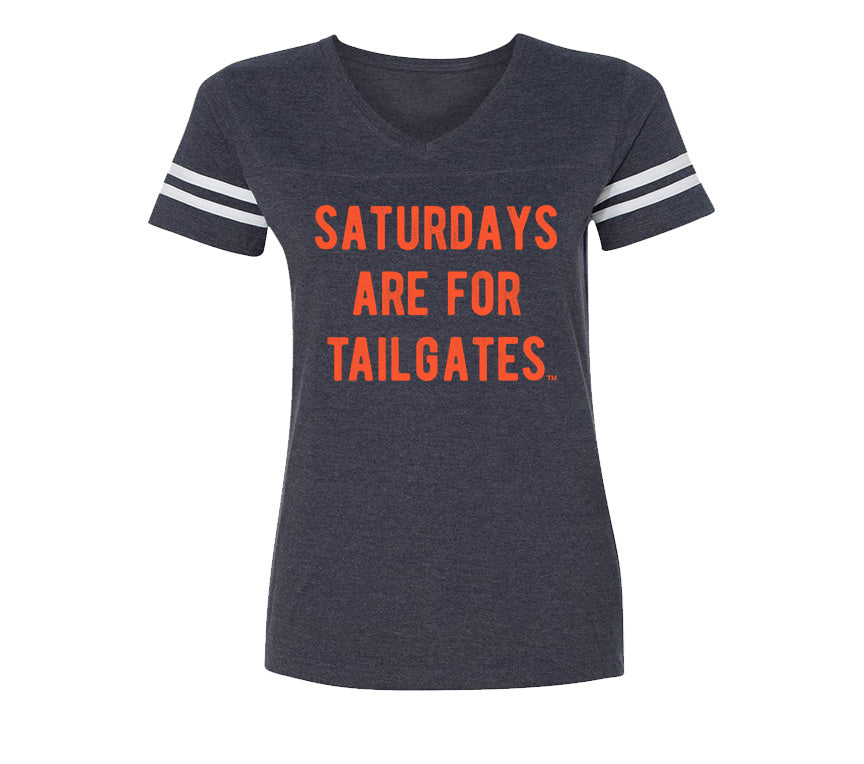 FOOTBALL | NAVY LADIES' TEE | SATURDAYS ARE FOR TAILGATES | ORANGE