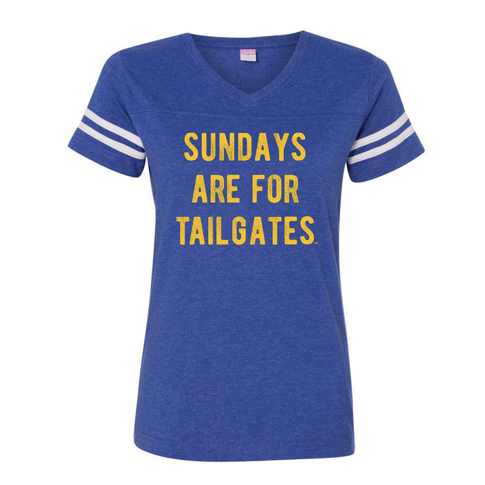 FOOTBALL |  BLUE LADIES' TEE | SUNDAYS ARE FOR TAILGATES | GOLD