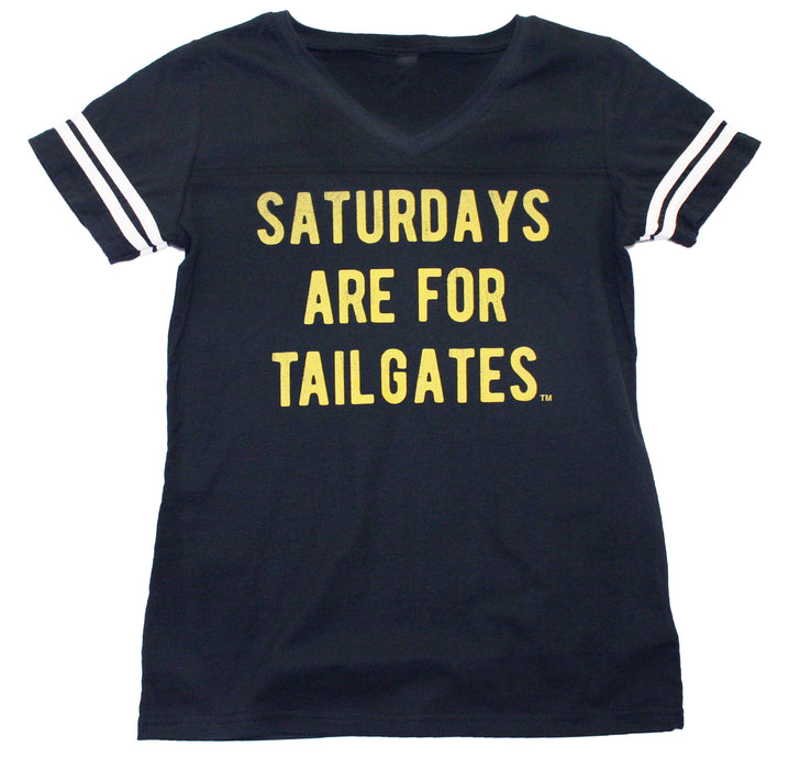FOOTBALL | BLACK LADIES' TEE | SATURDAYS ARE FOR TAILGATES | YELLOW