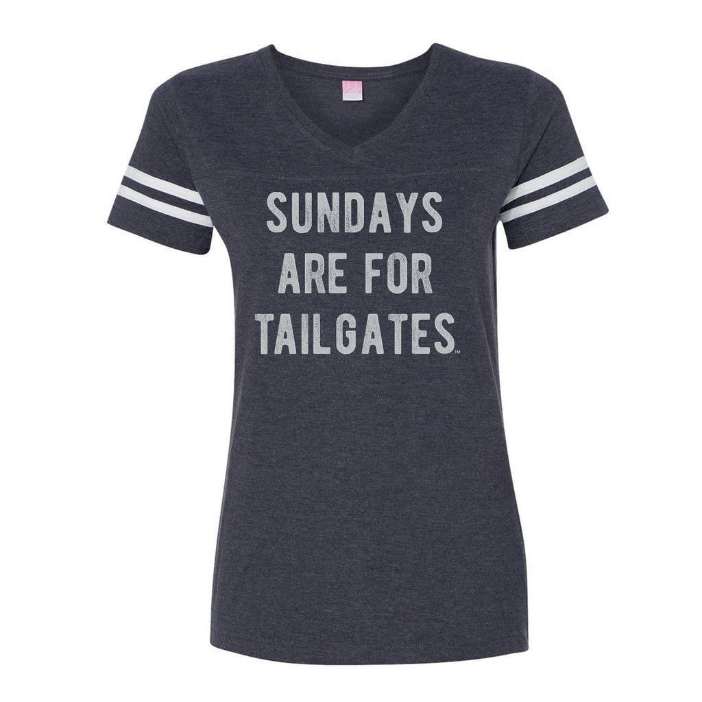 FOOTBALL |  NAVY LADIES' TEE | SUNDAYS ARE FOR TAILGATES | GRAY