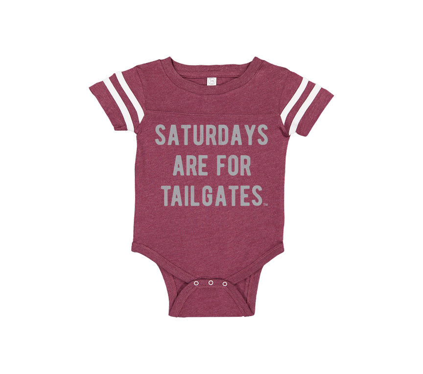 FOOTBALL | BURGUNDY ONESIE | SATURDAYS ARE FOR TAILGATES | GRAY