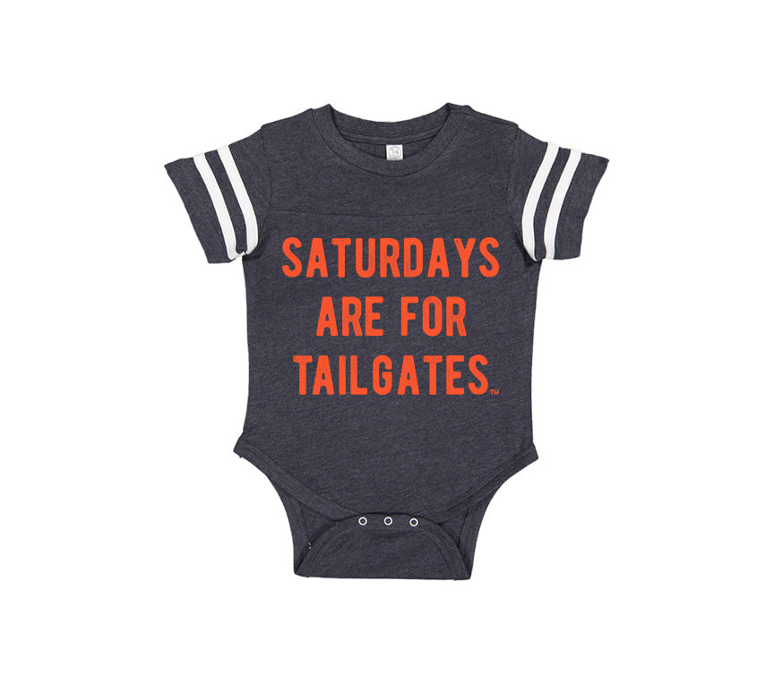 FOOTBALL | NAVY ONESIE | SATURDAYS ARE FOR TAILGATES | ORANGE