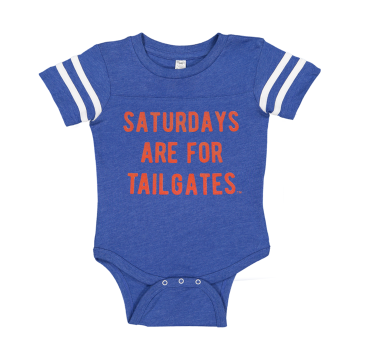 FOOTBALL | BLUE ONESIE | SATURDAYS ARE FOR TAILGATES | ORANGE