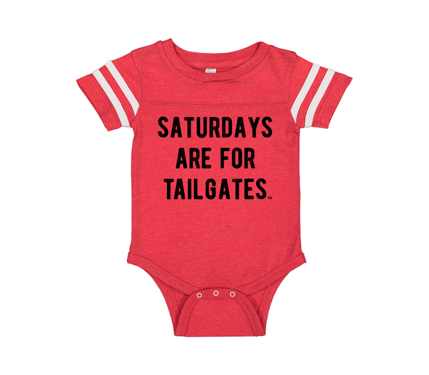FOOTBALL |  RED ONESIE TEE | SATURDAYS ARE FOR TAILGATES | BLACK