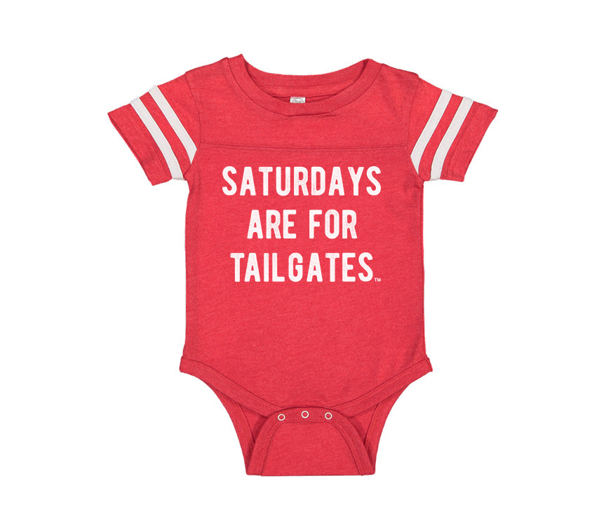 FOOTBALL | RED ONESIE | SATURDAYS ARE FOR TAILGATES | WHITE