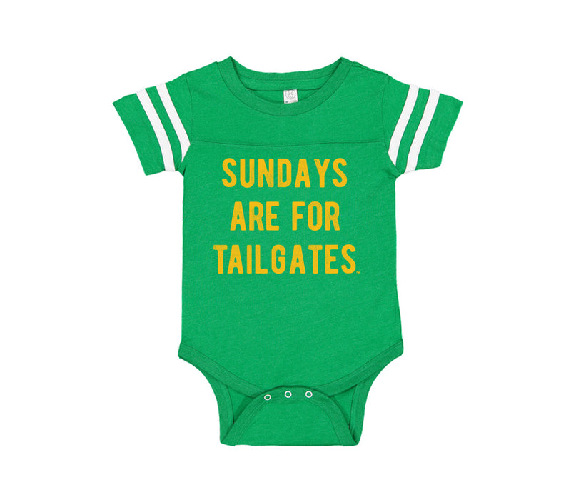 FOOTBALL |  GREEN ONESIE TEE | SUNDAYS ARE FOR TAILGATES | GOLD