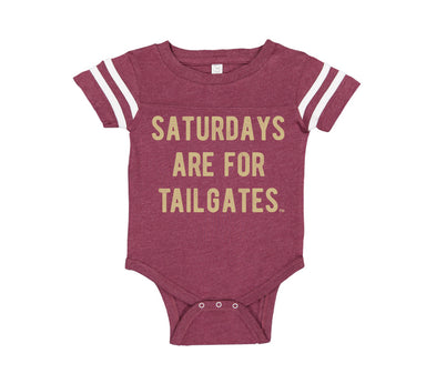 FOOTBALL | BURGUNDY ONESIE | SATURDAYS ARE FOR TAILGATES | GOLD