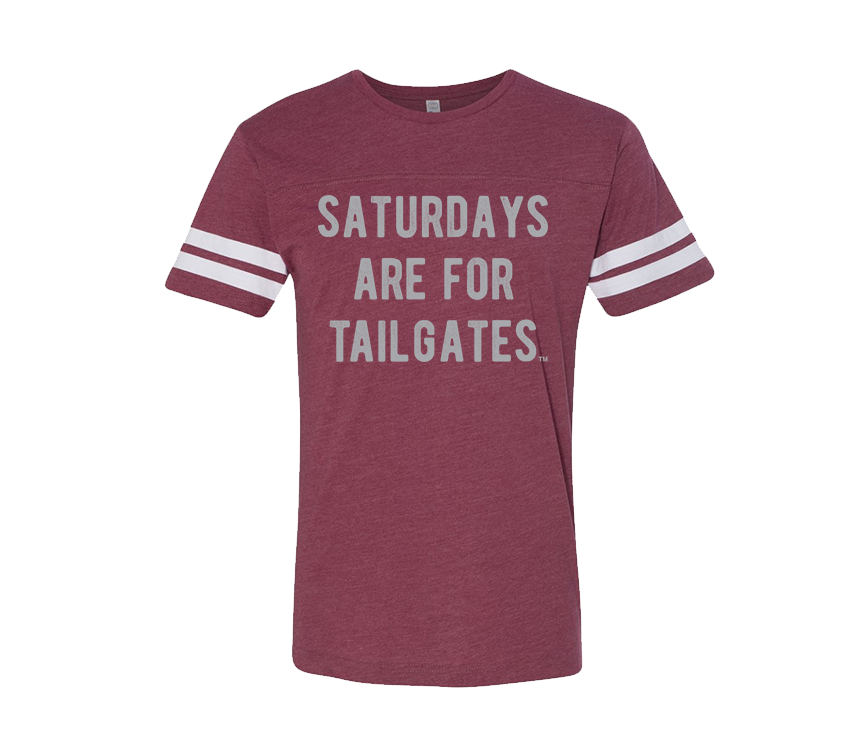 FOOTBALL | BURGUNDY UNISEX TEE | SATURDAYS ARE FOR TAILGATES | GREY