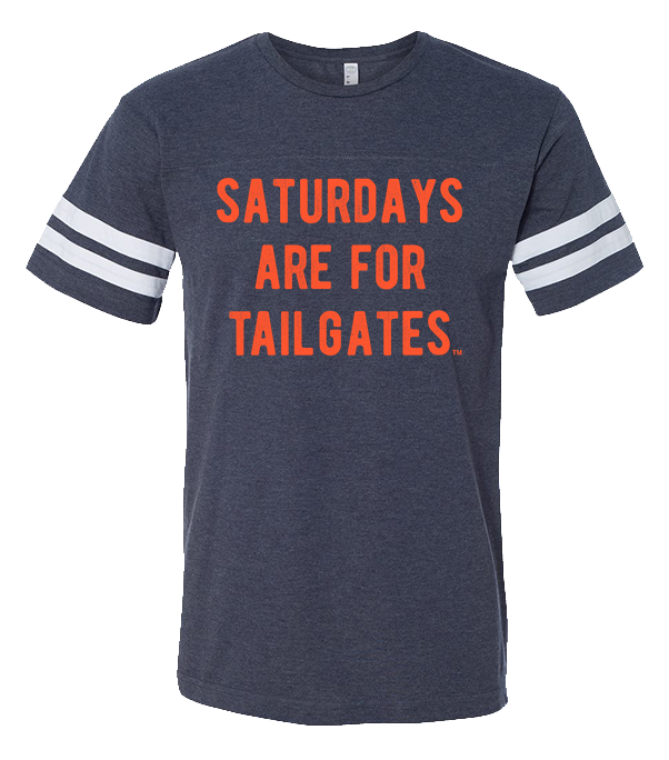 FOOTBALL |  NAVY UNISEX TEE | SATURDAYS ARE FOR TAILGATES | ORANGE