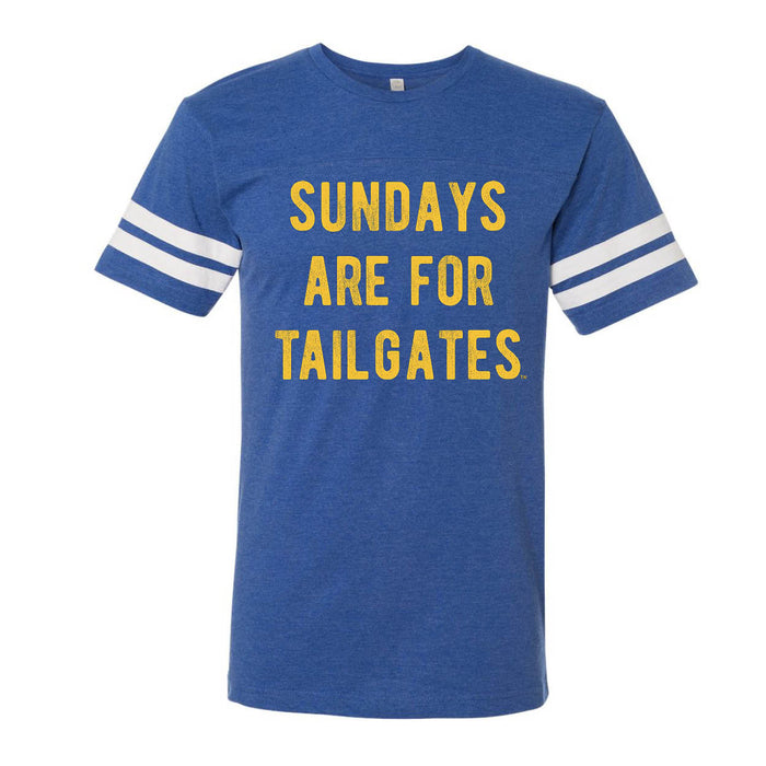FOOTBALL |  BLUE UNISEX TEE | SUNDAYS ARE FOR TAILGATES | GOLD