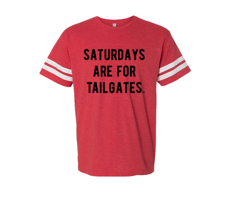 FOOTBALL |  RED UNISEX TEE | SATURDAYS ARE FOR TAILGATES | BLACK