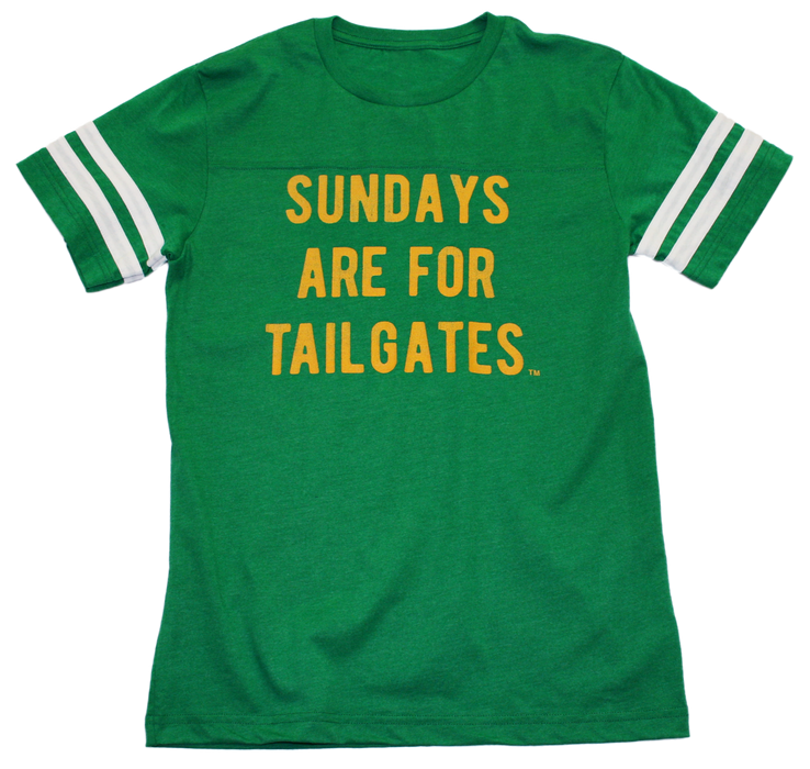 FOOTBALL |  GREEN UNISEX TEE | SUNDAYS ARE FOR TAILGATES | GOLD