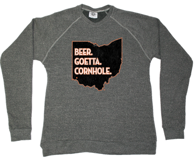 OHIO SWEATSHIRT | BEER, GOETTA, CORNHOLE | ORANGE/BLACK