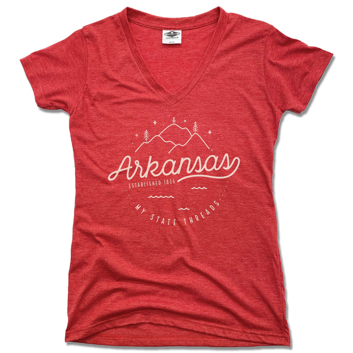 ARKANSAS | LADIES RED V-NECK | CREST