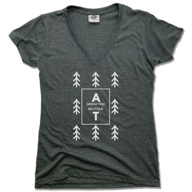 ARROW TREE | LADIES V-NECK | WHITE LOGO