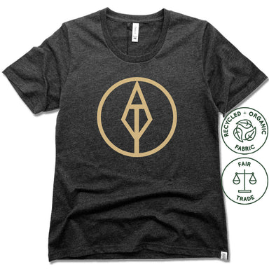 AIM TRUE YOGA | FAIRTRADE FREESET BLACK LADIES TEE | GOLD LOGO