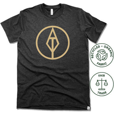 AIM TRUE YOGA | FAIRTRADE FREESET BLACK UNISEX TEE | GOLD LOGO