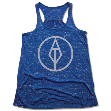 AIM TRUE YOGA | LADIES BLUE FLOWY TANK | GRAY LOGO