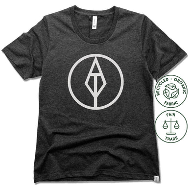 AIM TRUE YOGA | FAIRTRADE FREESET BLACK LADIES TEE | WHITE LOGO