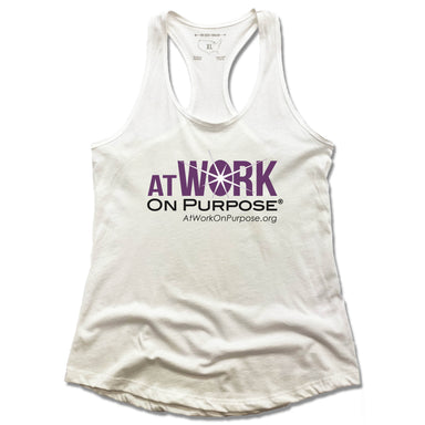 AT WORK ON PURPOSE | LADIES WHITE TANK | LOGO